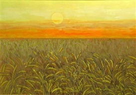 Artwork by Guy MacCoy, Wheat field, Made of Mixed media on paperboard