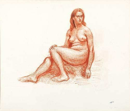 Nude model sitting profile