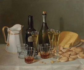 Artwork by John F. Francis, Still Life with Cheese and Wine, Made of oil on canvas
