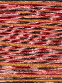 Artwork by Eileen Napaltjarri, UNTITLED (WATER SITE OF TJITURRULPA), Made of synthetic polymer paint on linen