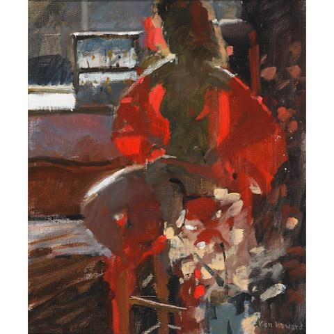 Artwork By Ken Howard, NUDE ON A STOOL IN STUDIO LIGHT, Made Of Oil