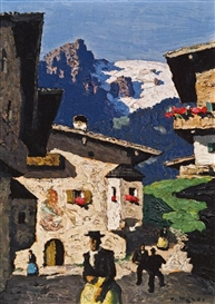 Artwork by Alfons Walde, Sommer in Tirol, Made of Oil on cardboard