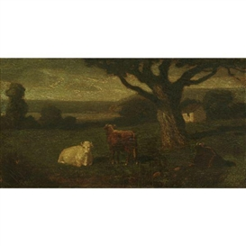 Artwork by Albert Pinkham Ryder, Pastoral Landscape, Made of oil on canvas mounted on board