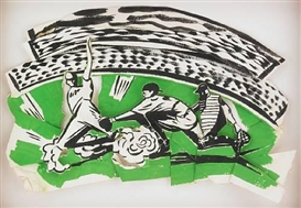 Artwork by Kim MacConnel, 2 works: Green Sliding; Boxers , Made of each gouache on cut and folded paper