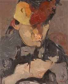 Artwork by Juan Barjola, Woman with Hat, Made of oil on canvas