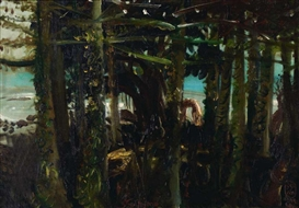Artwork by S. Sudjojono, Hutan Pantai (Forest View Along The Beach), Made of Oil on canvas