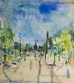 Artwork by Wilhelm Thöny, Avenue des Invalides, Made of Watercolor