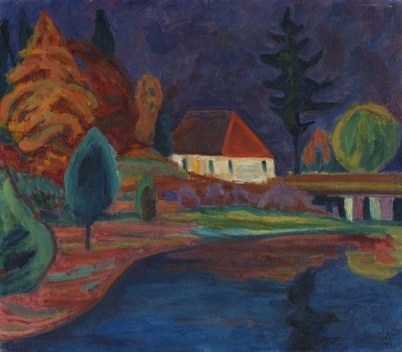 Artwork by Gabriele Münter, Landschaft mit Haus in Oberau, Made of Oil on canvas