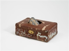 Artwork by Thomas Virnich, UNTITLED (EGYPT - MÖNCHENGLADBACH), Made of Suitcase with interior, the case's lid breaking through lead element