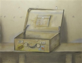 Artwork by Dieter Kraemer, KOFFER I. KOFFER II (SUITCASE I. SUITCASE II) (2 parts), Made of Colour crayon and pencil on artist's board