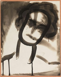 Artwork by Edmund Teske, Untitled (Emulsion Drawing of Head), 1943, Made of Vintage gelatin silver solarized cliche verre
