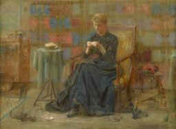 Artwork by Thomas Anshutz, WOMAN SEWING, Made of pastel