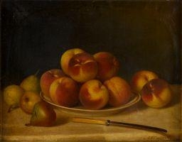 Artwork by John F. Francis, PEACHES AND PEARS, and 1 more work, Made of oil on canvas