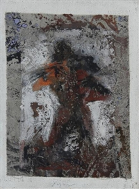 Artwork by Valentin Oman, Rote Figur, Made of Mixed media on canvas on jute