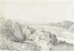Artwork by Adolf Stäbli, Landscape, Made of Pencil on paper