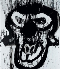 Artwork by Joyce Pensato, B.A CLOWN, Made of acrylic on vinyl
