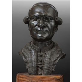 Artwork by Franz Xaver Messerschmidt, bust of Martin Georg Kovachich, Made of lead-tin alloy, on a wood base