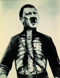 """Artwork by John Heartfield, """"Adolf, der Übermensch: Schluckt Gold und redet Blech"""", Made of Gelatin silver print"""
