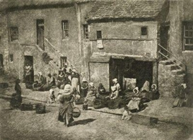 "Artwork by David Octavius Hill, ""Newhaven Fisheries"", Made of Photogravure. Japan paper. Backing board."