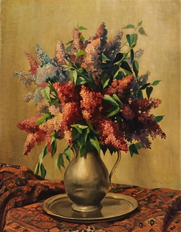 Lilac in a tin vase By Piet Cottaar