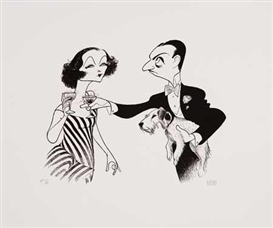 Artwork by Al Hirschfeld, The Thin Man: Myrna Loy and William Powell (Holding Asta), Made of Lithograph