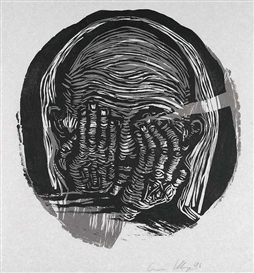 Artwork by Gustav Kluge, 3 works: Head, Made of Woodcut