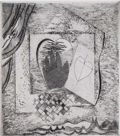 Artwork by Georg Muche, Hand - Herz, Made of Etching