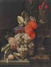 Cornelis de Heem, A still life of fruit on a stone panel