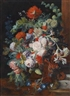 Jan van Huysum, A still life of flowers with a bird's nest