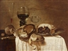 Pieter Claesz, A still life with a Nautilus cup turned upside down, a pewter plate with a lemon, a wine glass, and a Venetian bowl