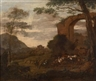 Nicolaes Berchem, 2 works: A landscape with shepherds and their flock; Shepherds resting in a landscape