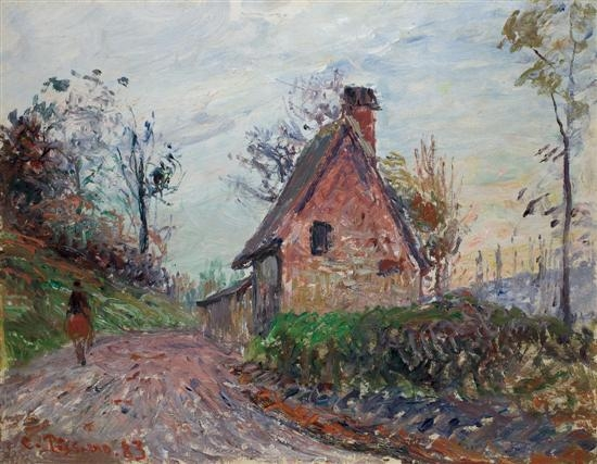 Artwork by Camille Pissarro, The countryside near Rouen, Made of Oil on board
