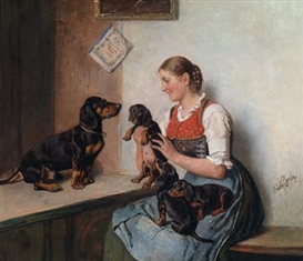 Artwork by Adolf Eberle, Dachshund Puppies being Admired, Made of Oil on panel