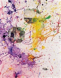 Artwork by Shozo Shimamoto, Proof of Peace AU 27, Made of mixed media and applications on canvas