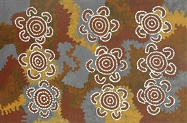 Artwork by Charlie Eagalie Tjapaltjarri, Men's Business, Made of acrylic on canvas