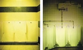 Artwork by Catherine Yass, 2 works: Toilet (Station); Toilet (Subway), Made of Ilfochrome transparency on lightbox