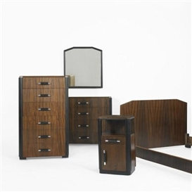 Artwork by Donald Deskey, Bedroom set, Made of Stained tiger maple, lacquered wood, chrome-plated brass, mirrored glass