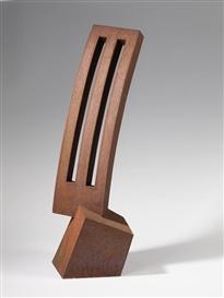 Artwork by Werner Pokorny, Haus und durchbrochene Form, Made of Corten steel