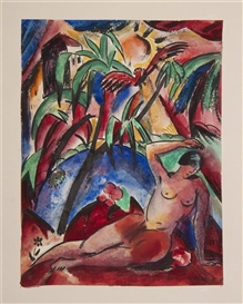 Artwork by Josef Eberz, Reclining Nude in Jungle, Made of Watercolor