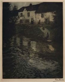 Artwork by Frits Thaulow, Nocturnal River Scene, Made of Color aquatint