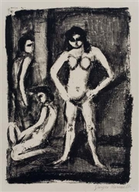 Artwork by Georges Rouault, 2 works: La Lutteuse; Eves déchues, Made of lithographs