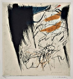 Masuo Ikeda, 2 works: Untitled (Abstract Composition); Untitled (Figure on Text)
