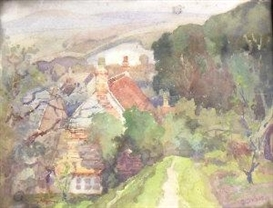 Artwork by Julius Delbos, Wooded village landscape, Made of watercolour
