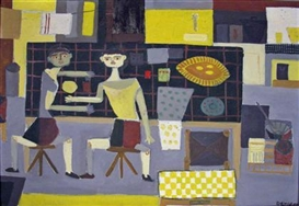 Artwork by Dany Lartigue, TWO FIGURES IN AN INTERIOR, Made of Oil on canvas