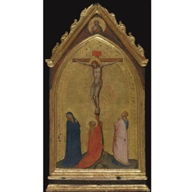 Artwork by Bernardo Daddi, The Crucifixion with the Madonna and Saints Mary Magdalene and John the Evangelist, Christ the Redeemer above, Made of tempera on panel, gold ground, shaped top