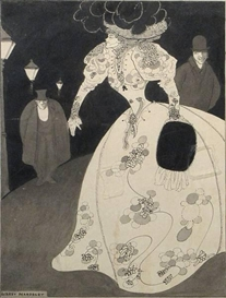 Artwork by Aubrey Beardsley, A woman in white, Made of Pen and ink and wash on paper board