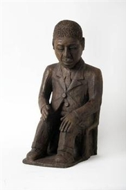 Artwork by Noria Mabasa, Seated Man, Made of Bronze
