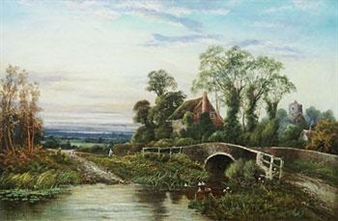 English Rural Scene By Octavius T. Clark