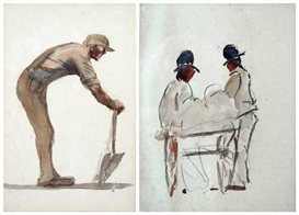 Artwork by Michael Healy, 2 works: Dubliners, Made of watercolours