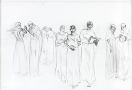 Artwork by Charles Avery, NINE FIGURES, Made of pencil